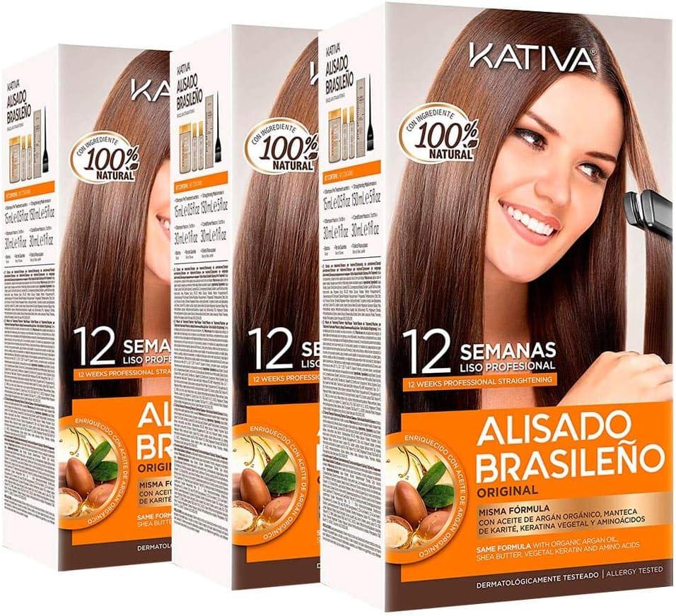 Kativa Keratina y Argán - Kit Alisado Brasileño PACK 3x150 ml ...