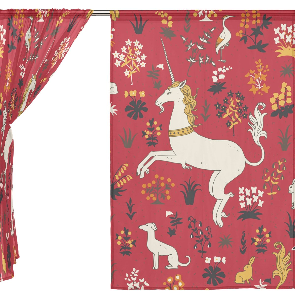SEULIFE Window Sheer Curtain, Vintage Animal Unicorn Rabbit Flower Voile Curtain Drapes for Door Kitchen Living Room Bedroom 55x78 inches 2 Panels by SEULIFE (Image #3)