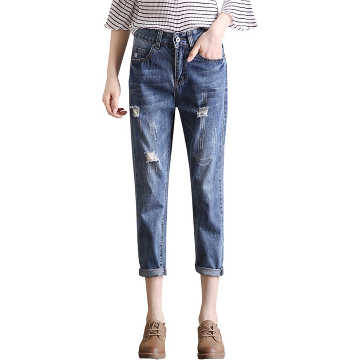 17c6899c87cf Zcaosma woman slim loose pants ripped denim vintage straight jean casual  trouser at amazon womens jeans