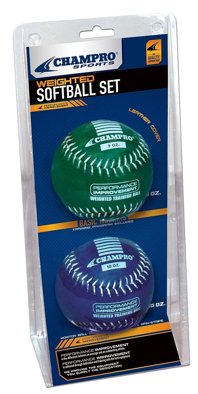 Champro Basic Weighted Training Softball (Blue/Green, 12-Inch)