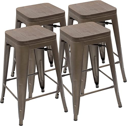 Devoko Metal Bar Stool 24 Indoor Outdoor Stackable Barstools Modern Industrial Vintage Gun Counter Wood Top Bar Stools Set of 4 Gun