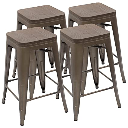 Amazoncom Devoko Metal Bar Stool 24 Indoor Outdoor Stackable