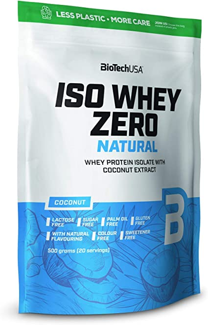 BioTechUSA Iso Whey Zero Natural bebida en polvo de aislado de proteína de suero, sin colorante y endulcorante, 500 g, Coco