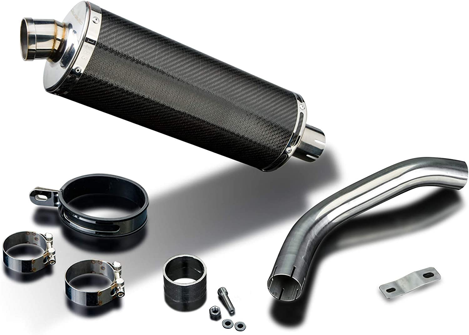 Delkevic Aftermarket Slip On compatible with Yamaha Super Tenere XTZ1200 Stubby 14 Carbon Fiber Oval Muffler Exhaust 12-19