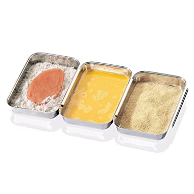 CHEFS 3 Piece Stainless-Steel Triple Breading Trays By Jumbl