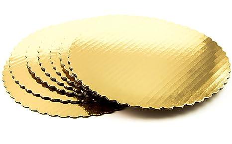 /Vajilla de cart/ón Scalloped Cake c/írculo Base Bandejas para tartas/ oro 10/cm de di/ámetro