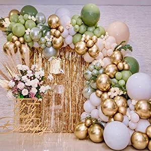Sage Green And Gold Balloons Arch Kit Garland Decor Olive And Gold Balloons Baby Shower Gender Neutral Jungle Neutral Metallic Chrome Confetti
