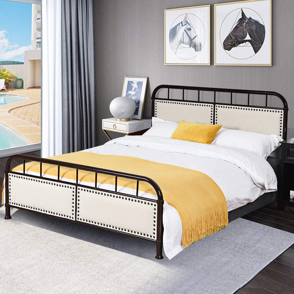 WATERJOY Queen Bed Frame, Steel Queen Size Bed Frame Foundation, Bed Upholstered Panel, Home Bedroom Platform Full Twin Bed Frame Chocolate