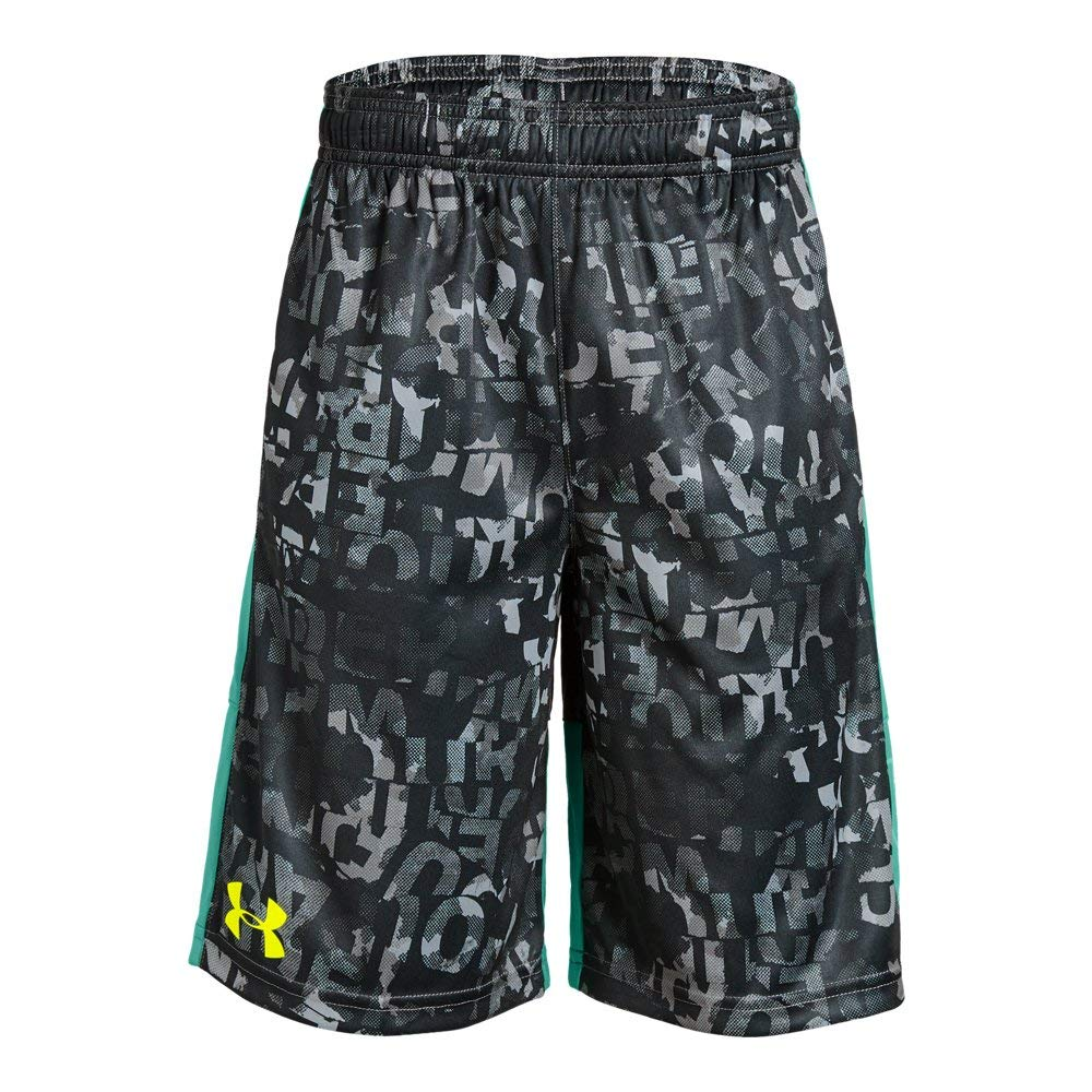 Under Armour Boys' Instinct Printed Shorts,  Graphite (043)/High-Vis Yellow  Youth X-Large by Under Armour