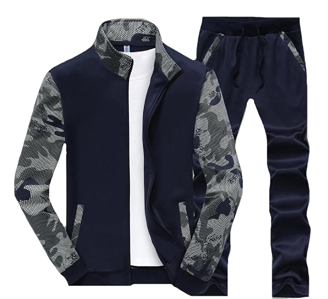 caae31e667ad ANDYOU Men's Large Size Breathable Multicamo Texture Tracksuit Set at  Amazon Men's Clothing store: