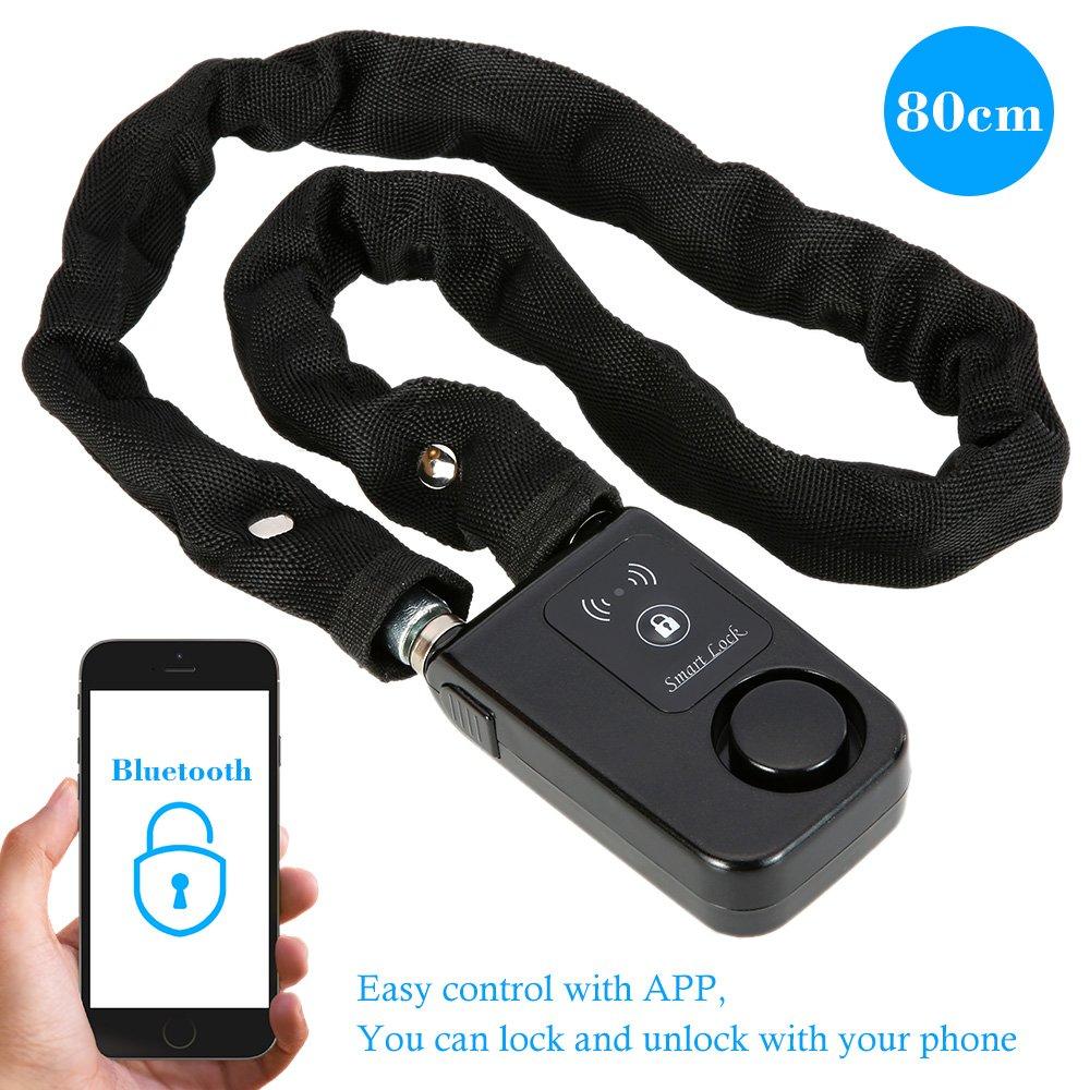 KKmoon Cerradura Smart Lock Bluetooth 80cm Cadena Negro Alarma Antirrobo sin Llave Telé fono APP Control