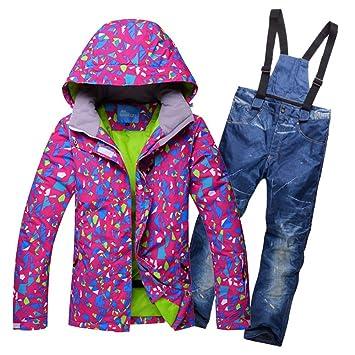 ZXGJHXF Chaqueta de esquí + Pantalón de esquí para Mujer Traje de esquí o Snowboard para Mujer Ropa de Senderismo Impermeable Traje de esquí Impermeable: ...