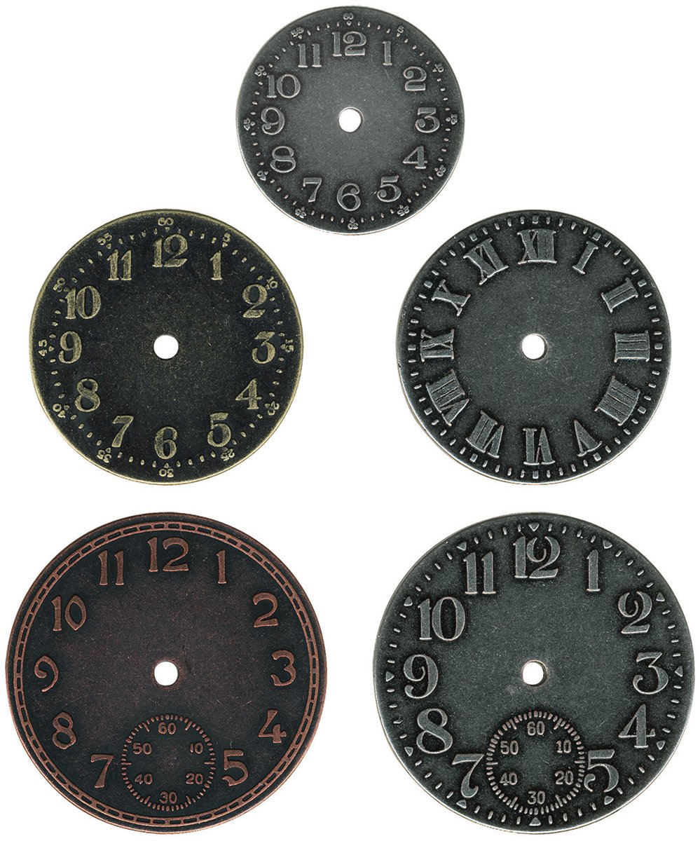 Amazon.com: Metal Timepieces by Tim Holtz Idea-ology, 5 per Pack, Various Sizes, Antique Finishes, TH92831