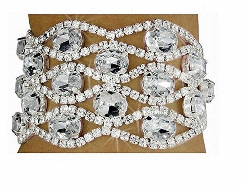Clear Austrian Crystal Lattice Latch Clasp Bracelet by Lonestar Jewelry