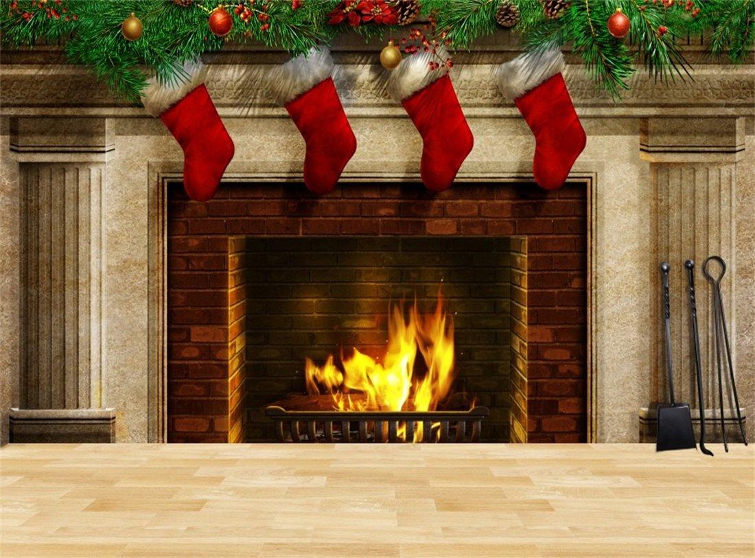 2019年最新入荷 leowefowa 9 x 6ftクリスマス暖炉BackdropレッドストッキングPine小枝素朴な木製床内部Happy New Yearビニール写真背景子供大人フォトスタジオ小道具   B077TN8BJQ, 小平市 f2e1b6ea