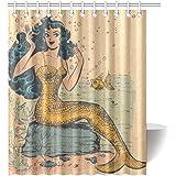 """Welcome!Waterproof Decorative Vintage Vintage Mermaid Art Shower Curtain 60""""*72""""-30"""