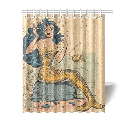 Waterproof Decorative Vintage Mermaid Art Shower Curtain 60quot