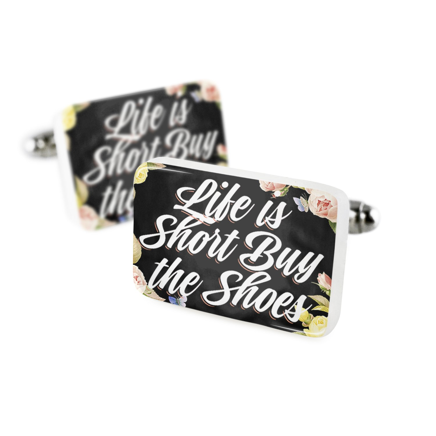Cufflinks Floral Border Life is Short Buy the Shoes Porcelain Ceramic NEONBLOND