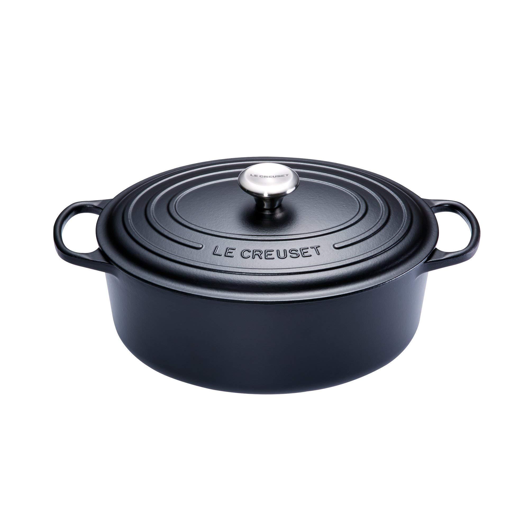 Le Creuset Cocotte Signature ovale en fonte émaillée, 33cm, noir mat product image