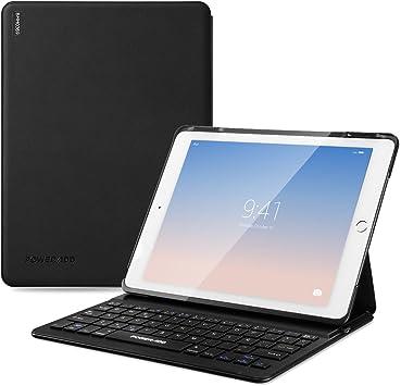 POWERADD iPad Air 2 & iPad Pro 9.7 del Año 2017 Funda con Teclado Bluetooth, para el Tamaño de iPad de 24.2x17.8x0.59 cm, Teclado Españoles, Batería ...
