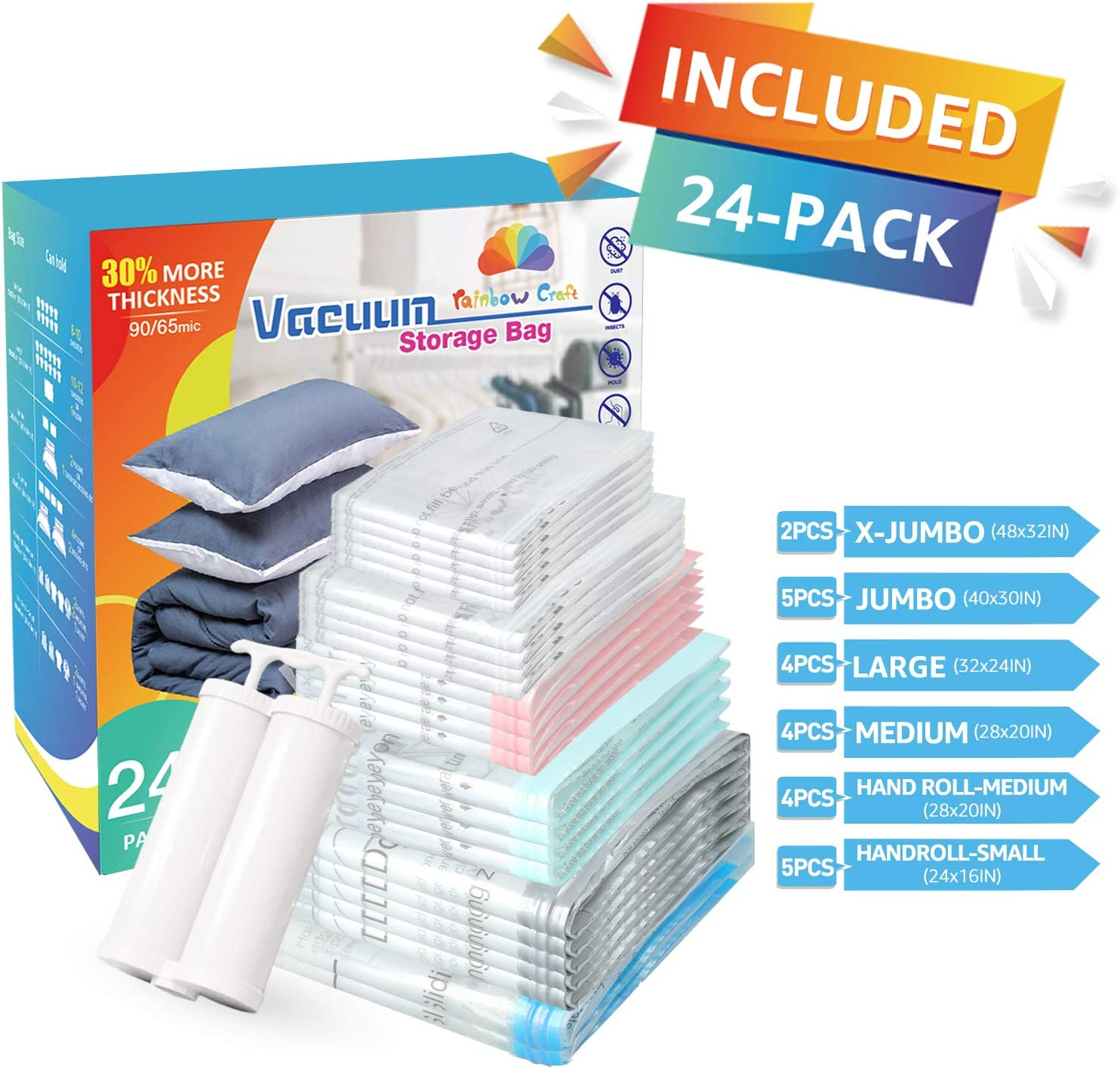 rainbow craft 24-Pack Combo Vacuum Storage Bags for Cloths&Home Textiles - 24 Packs Space Saver Bags Including 2pc X-Jumbo, 5pc Jumbo, 4pc Large, 4pc Medium & 9pc Hand Roll Bags - Free Dual Pump