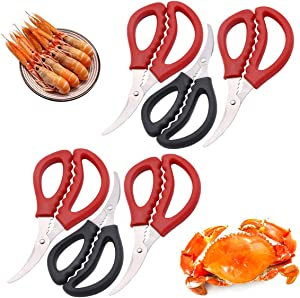 6 Pack Seafood Scissors Lobster Scissors, Lobster Crackers Set, 6 Inch Crab Scissors, Sharp Crab Leg Crackers and Kitchen Tools (Red, Black)