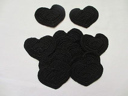 Amazon one dozen large black heart crochet appliques pieces
