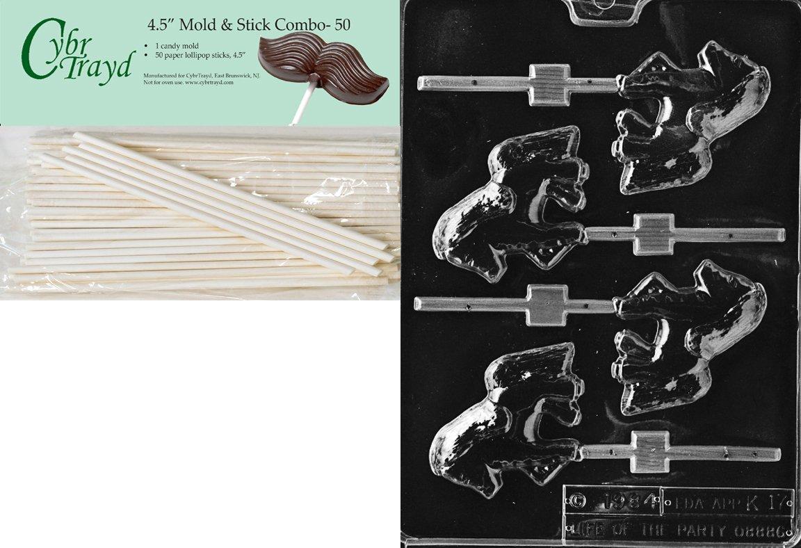 Cybrtrayd 45St50-K017 Pony Lolly Kids Chocolate Candy Mold with 50 Cybrtrayd 4.5-Inch Lollipop Sticks