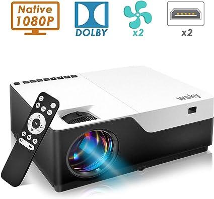 Amazon.com: Wsky 2019 Proyector de vídeo portátil para cine ...