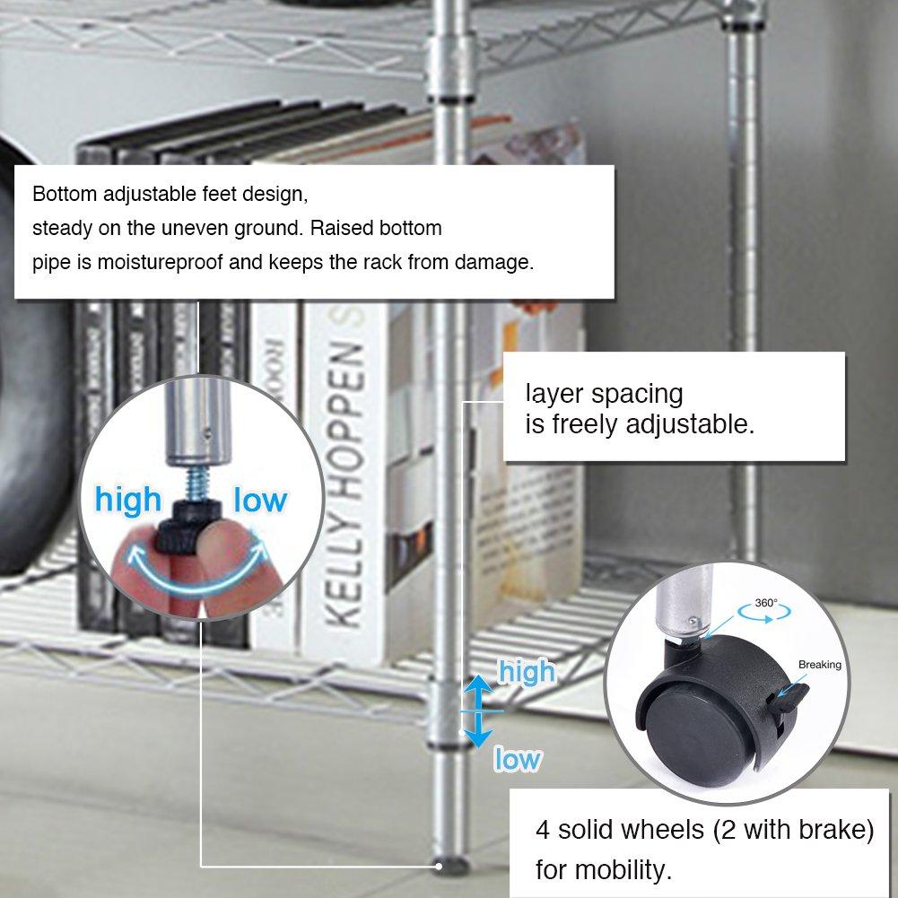 JS HOME 5-Tier Wire Shelving Unit Heavy Duty Storage Organizer , Silver