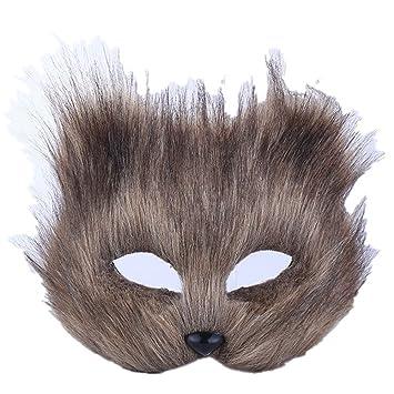 ParttYMask Mascarada,Maquillaje Danza máscara Animal Media Cara espectáculo Accesorios Halloween Zorro Gris de Pelo