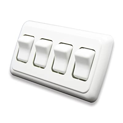 American Technology Components Quad SPST On-Off Switch with Bezel, 12-Volt, for RV, Trailer, Camper (White): Automotive