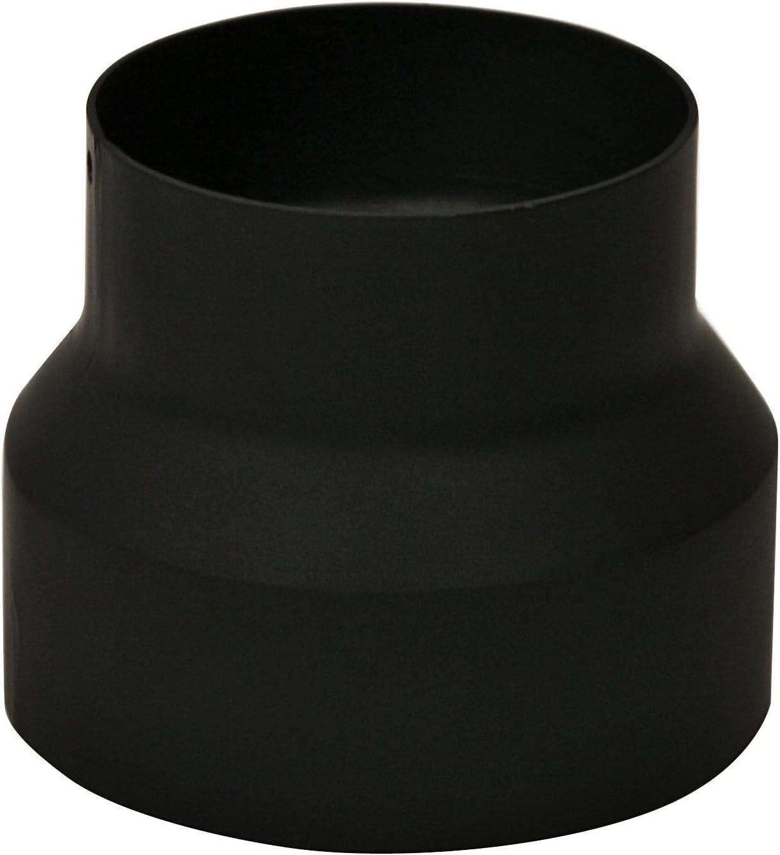 Kamino-Flam Reductor Chimenea Reducción para Tubo de Estufa, Acero, Negro, 17.6x17.2x16.8 cm