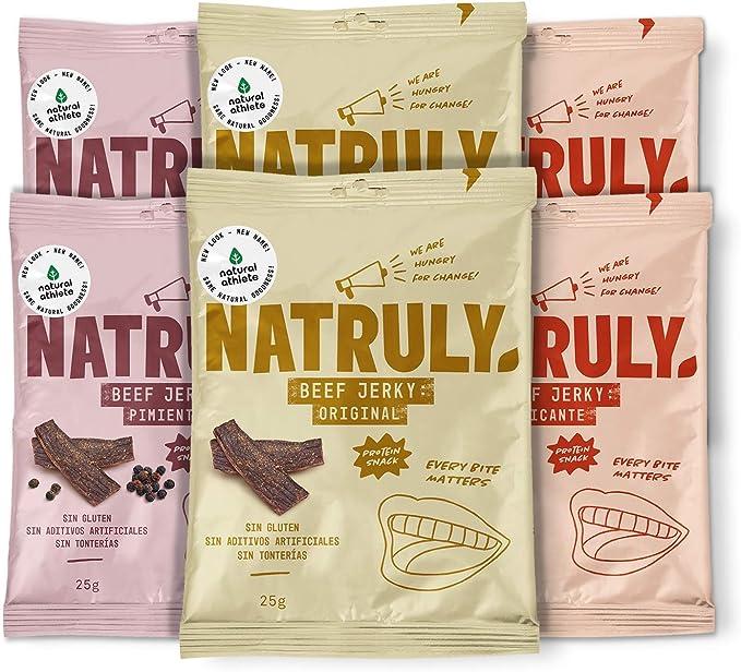 Beef Jerky Mix Sabores Natural Athlete, Carne Seca 100% de Vacuno, Sin Gluten, Sin Lactosa, Sin Azúcar Refinado Añadido, Sin Aditivos Artificiales, ...