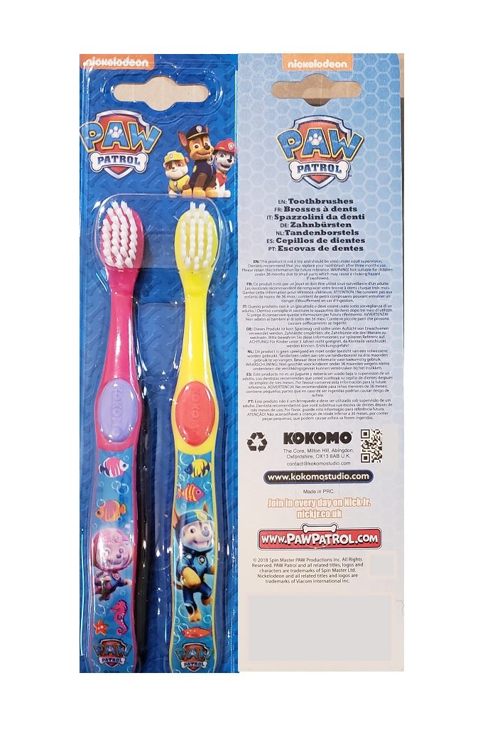 Kokomo entertainment ONE Twin Pack 2 Pack Paw Patrol Toothbrush Set Ages 3