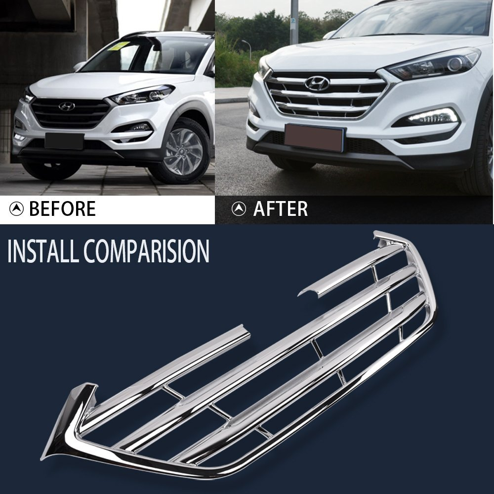 Kust zw71117w Car Front Grille Molding Cover,Bumper Guard Trim Fit for Tucson Hyundai 2016 2017,Pack of 1 Piece ABS Plating Meterial Chrome Trims Bumper Grille Cover