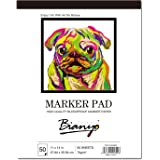 "Bianyo BN-5802 XL Bleedproof Sketch Book-11""X14""-50 Sheets Marker Paper for Drawing, White"