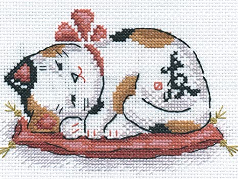 DIY Counted Cross Stitch Kits for Beginners-Love Cat,Adult Crosstitch Embroidery Kit for Home Wall Decor,14CT