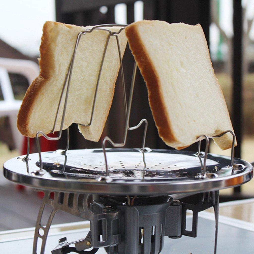 GROOMY 4 rebanadas Plegable de Acero Inoxidable Pan Tostadora Bandeja Rack Camp Stove Herramienta de Cocina