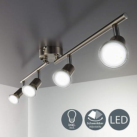 B.K.Licht - Lámpara de techo con 4 focos LED GU10, focos ...