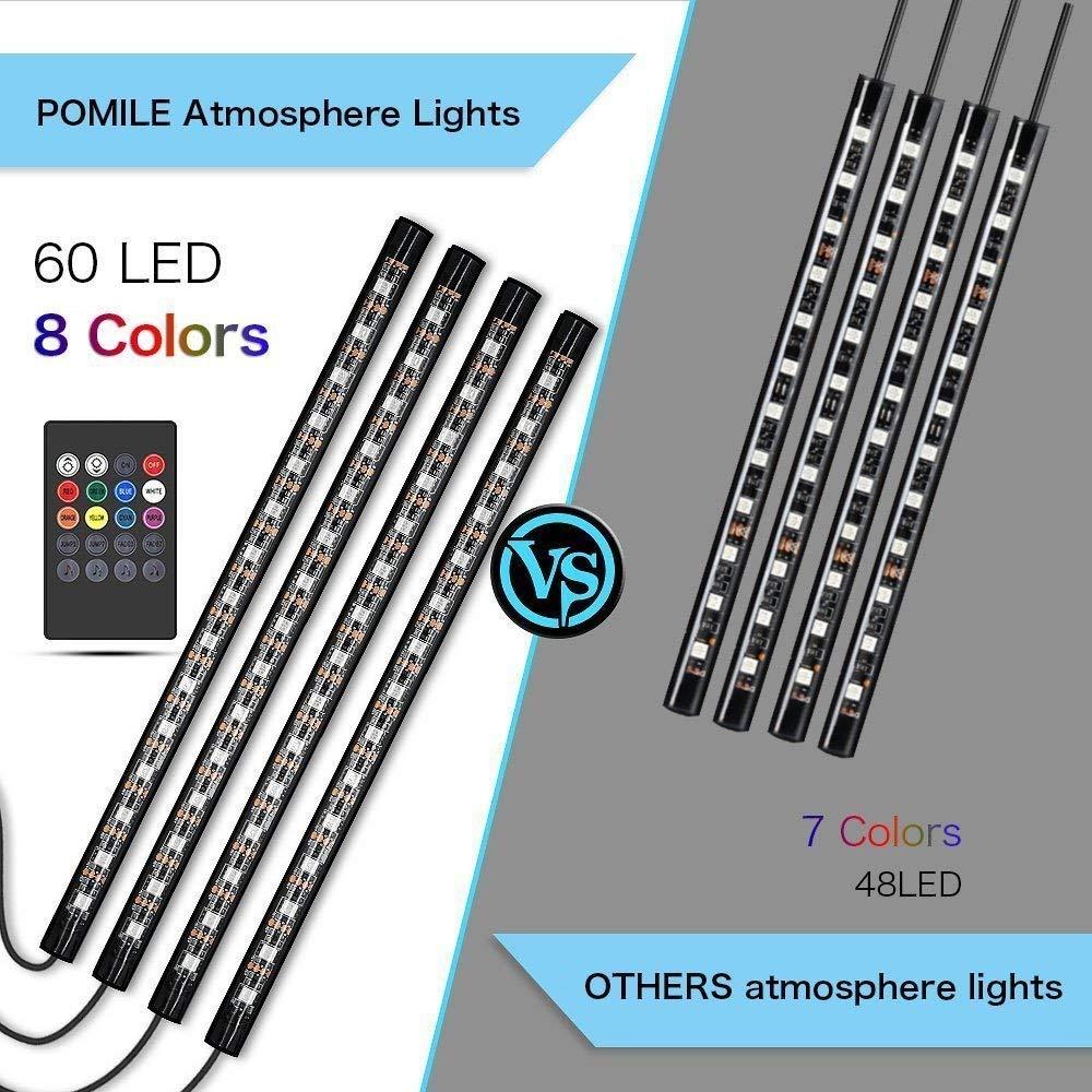 5V Luces interiores del coche Iluminaci/ón interior RGB Puerto USB Iluminaci/ón de atm/ósfera con funci/ón de sonido activo y control remoto inal/ámbrico Puerto USB 4 x 27CM POMILE 60 LED 12V