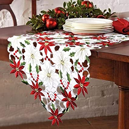 OurWarm Christmas Embroidered Table Runners Poinsettia Holly Leaf Table  Linens For Christmas Decorations 15 X 69