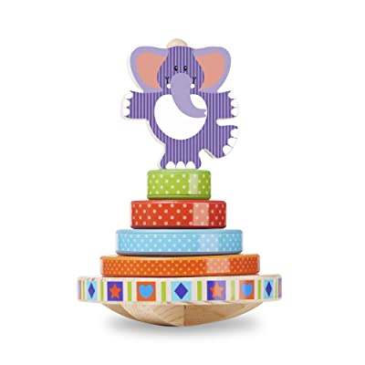 Melissa & Doug First Play Wooden Elephant Rocking Stacker (6 pcs): Toys & Games
