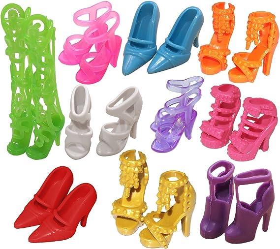 12 Paare Schuhe Barbie Schuhe Pumps Stiefel Sandale: Amazon