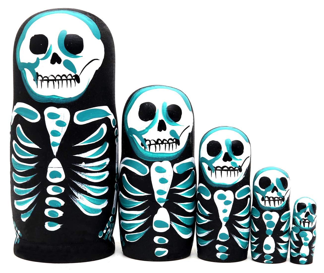 Debbieicy 5Pcs Beautiful Handmade Wooden Russian Nesting Dolls Skull Matryoshka dolls Gift for Halloween and Birthday - Stacking Doll Set of 5 From 6.3'' Tall by Debbieicy (Image #1)