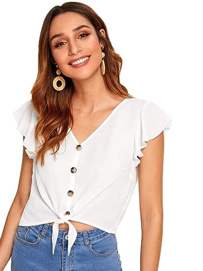 dabbdac7d3f SweatyRocks Women's Summer Short Sleeve Crop Top T-Shirt Tie Front Blouse  Top