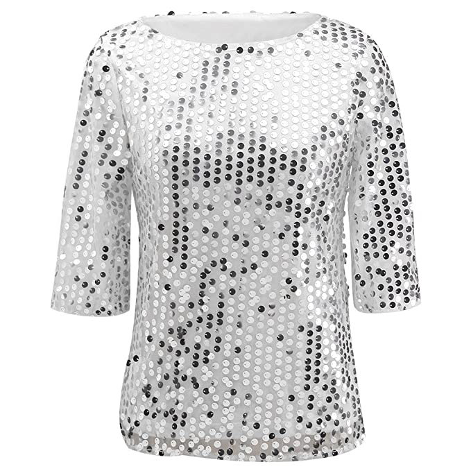 851114d5f00c28 Women Sequin Sparkle Glitter Tank Coctail Party Tops T-Shirt Blouses (S