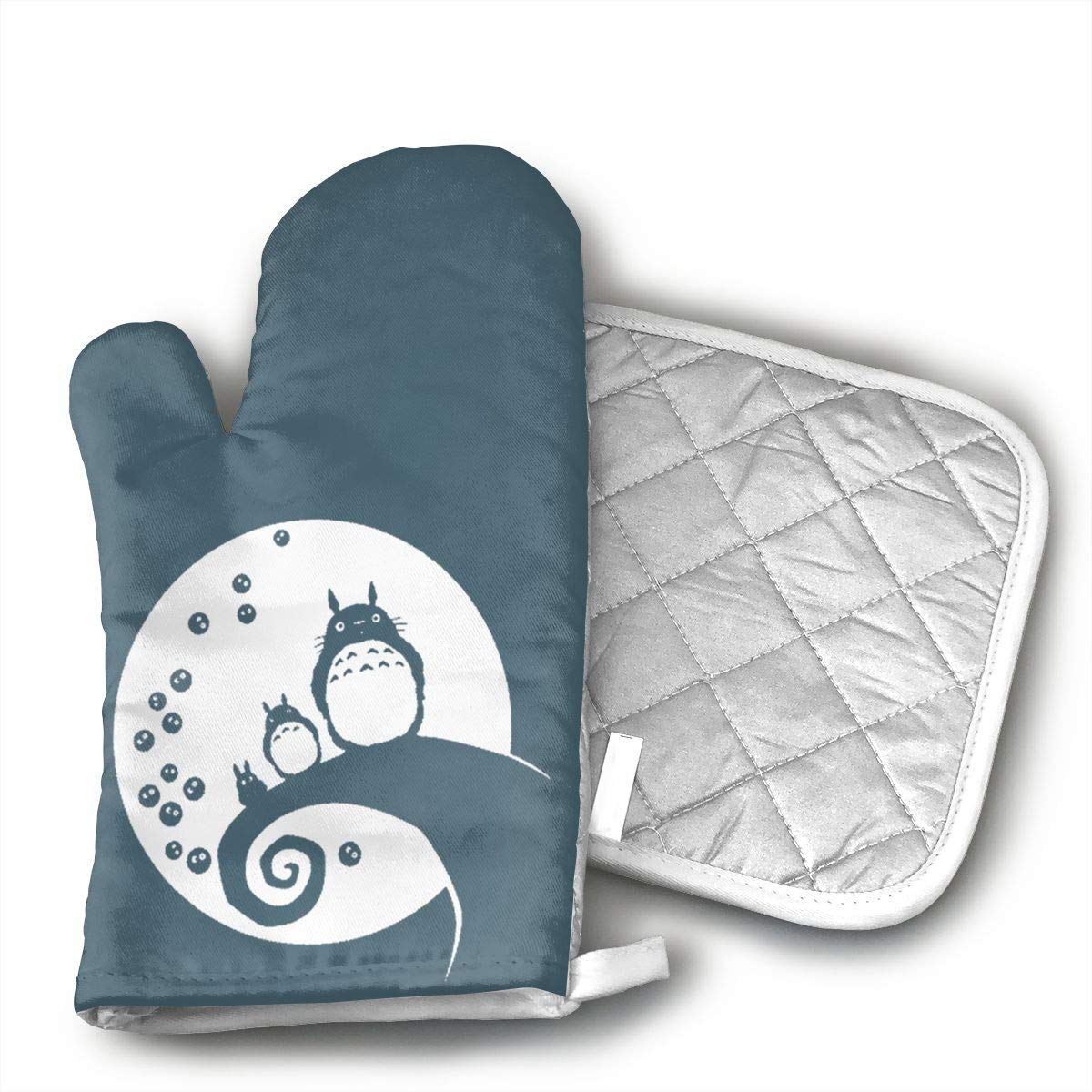 ECEED DAI Anime My Neighbor Oven Mitts,with Potholders Oven Gloves,Insulated Quilted Cotton Potholders