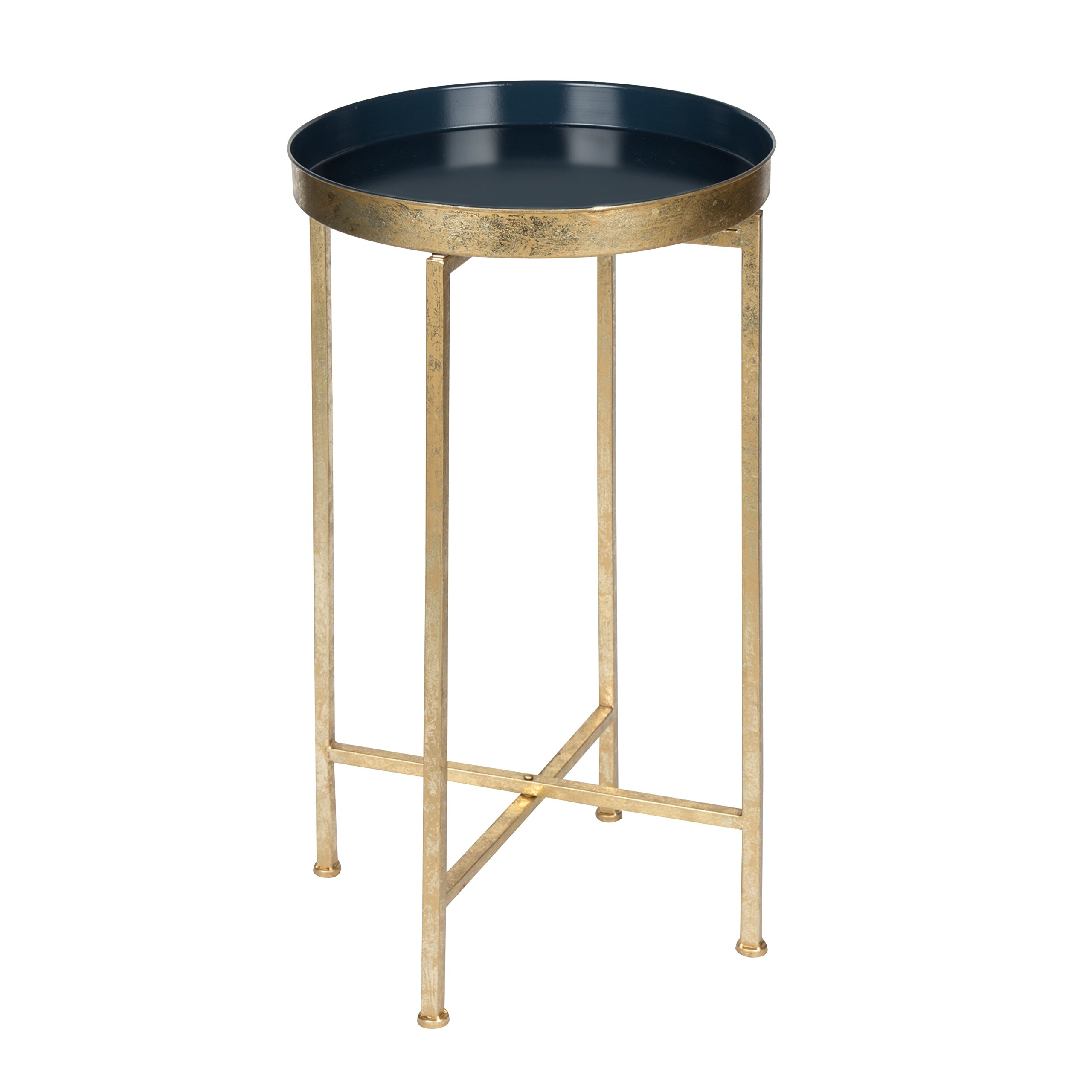 Kate and Laurel Celia Round Metal Foldable Tray Accent Table, Navy Blue and Gold
