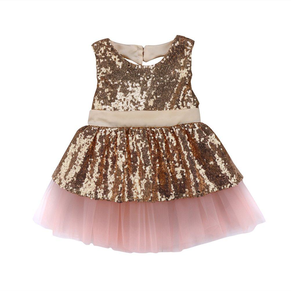 CAT1-RHD Robe B/éb/é Fille Princesse Paillettes Noeud Papillon Anniversaire Mariage C/ér/émonie pour Enfant 6-24 Mois 2-4 Ans